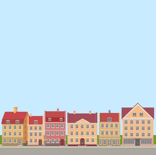 Conjunto de iconos y símbolos de casa plana retro. edificios modernos de estilo plano.