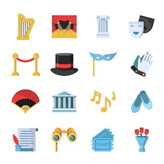Conjunto de iconos de símbolos de cine, película y teatro