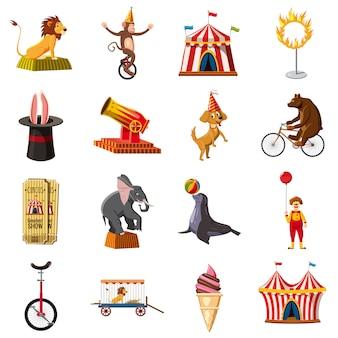 Conjunto de iconos de símbolos de circo, estilo de dibujos animados