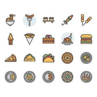 Conjunto de iconos y símbolos de comida internacional