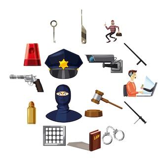 Conjunto de iconos de símbolos criminales, estilo de dibujos animados