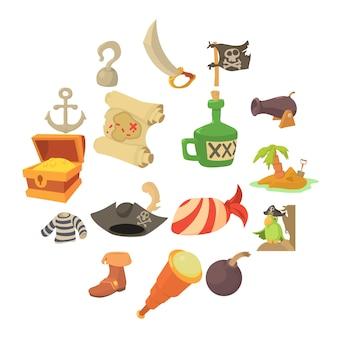 Conjunto de iconos de símbolos de la cultura pirata, estilo de dibujos animados