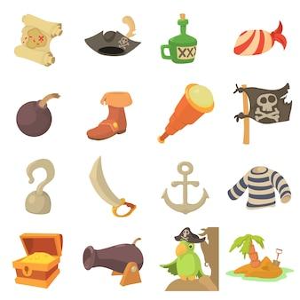 Conjunto de iconos de símbolos de la cultura pirata