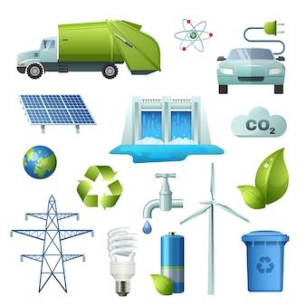 Conjunto de iconos de símbolos de ecología