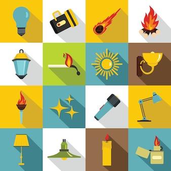 Conjunto de iconos de símbolos de fuente de luz, estilo plano
