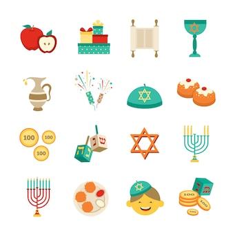 Conjunto de iconos de símbolos de hanukkah