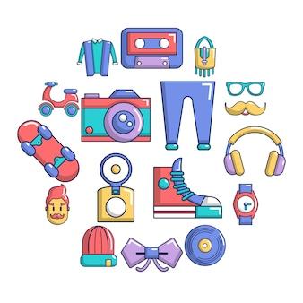 Conjunto de iconos de símbolos hipster, estilo de dibujos animados