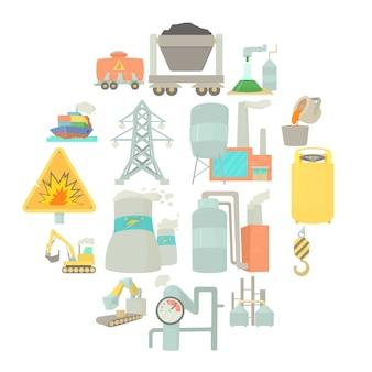Conjunto de iconos de símbolos industriales, estilo de dibujos animados
