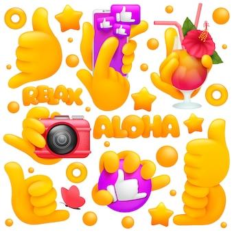 Conjunto de iconos y símbolos de mano emoji amarillo. smartphone, cóctel tropical, cámara, signos de shaka.