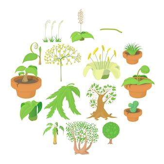 Conjunto de iconos de símbolos naturaleza verde, estilo de dibujos animados