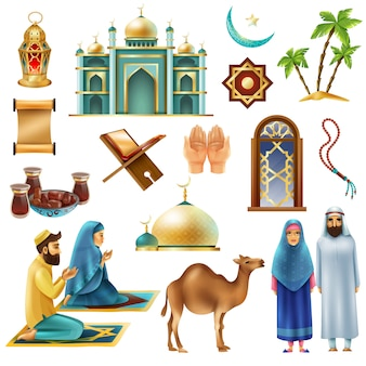 Conjunto de iconos de símbolos ramadan kareem mubarak