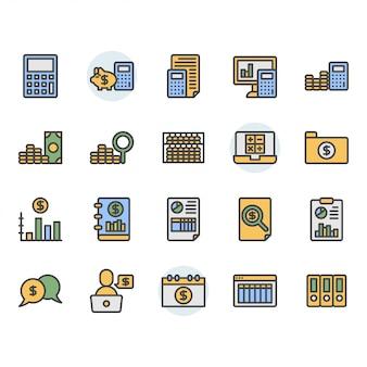 Conjunto de iconos y símbolos relacionados con la contabilidad