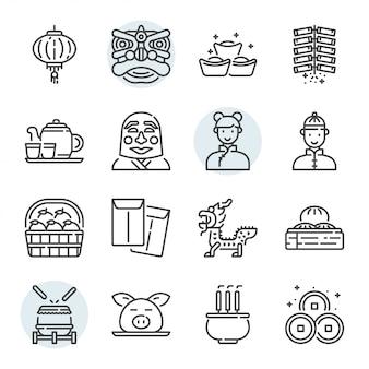 Conjunto de iconos y símbolos relacionados con el día de año nuevo chino