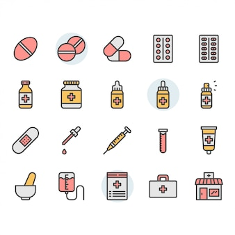 Conjunto de iconos y símbolos relacionados con la medicina