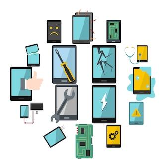 Conjunto de iconos de símbolos de reparación de dispositivos en estilo plano