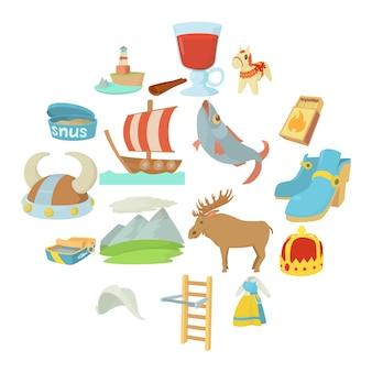 Conjunto de iconos de símbolos de viaje de suecia, estilo de dibujos animados