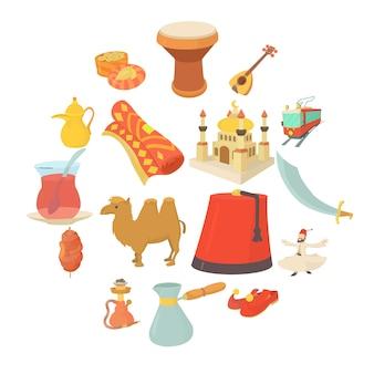Conjunto de iconos de símbolos de viaje de turquía, estilo de dibujos animados