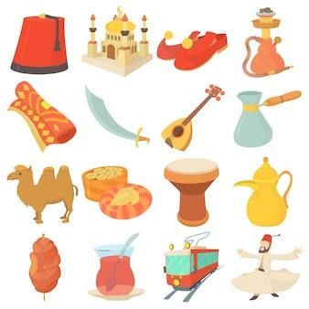 Conjunto de iconos de símbolos de viaje de turquía