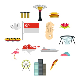 Conjunto de iconos de singapur, estilo plano