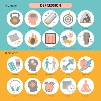 Conjunto de iconos de síntomas y tratamiento de depresión