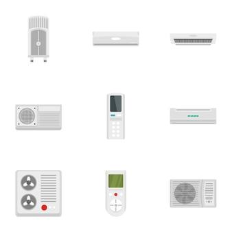 Conjunto de iconos del sistema de aire acondicionado, estilo plano