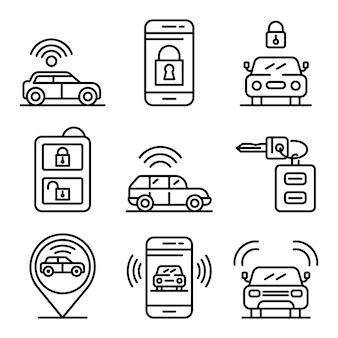 Conjunto de iconos de sistema de alarma de coche, estilo de contorno