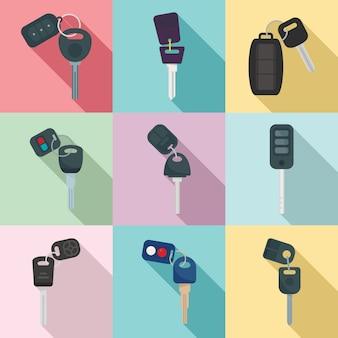 Conjunto de iconos de sistema de alarma de coche, estilo plano