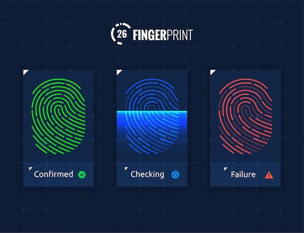 Conjunto de iconos de sistema de autorización de identificación de huellas dactilares de vector aislado sobre tecnología futura de ciencia ficción