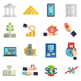 Conjunto de iconos de sistema bancario