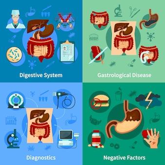 Conjunto de iconos del sistema digestivo