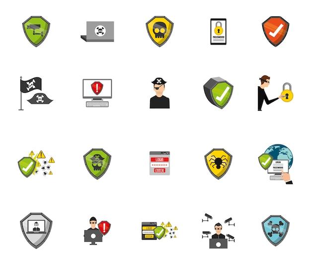 Conjunto de iconos de sistema de seguridad