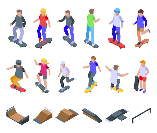 Conjunto de iconos de skate para niños. conjunto isométrico de iconos de patinaje infantil para web