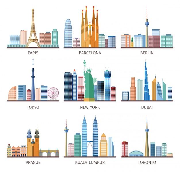 Conjunto de iconos de skylines de ciudades