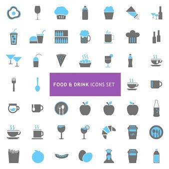 Conjunto de iconos sobre comida y bebida