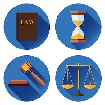 Conjunto de iconos sobre un fondo azul ley, tribunal. en estilo de diseño plano