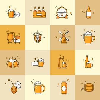 Conjunto de iconos sobre el tema de la cerveza kraft