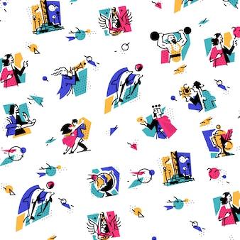 Un conjunto de iconos sobre el tema de las formas de arte.