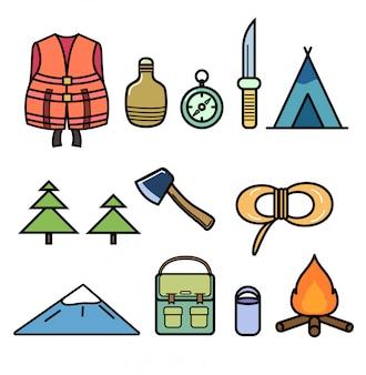 Conjunto de iconos sobre el tema del senderismo