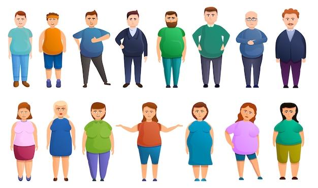 Conjunto de iconos con sobrepeso, estilo de dibujos animados