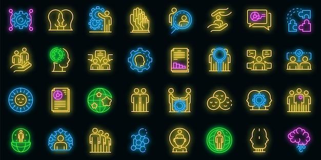 Conjunto de iconos de sociología. esquema conjunto de iconos de vector de sociología color neón en negro