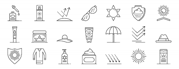 Conjunto de iconos de sol cosmética, estilo de contorno