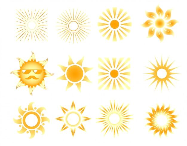 Conjunto de iconos de sol naranja diferentes