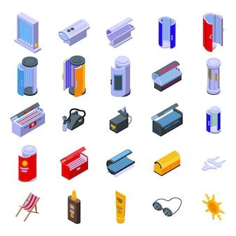 Conjunto de iconos de solarium. conjunto isométrico de iconos de vector de solarium para diseño web aislado sobre fondo blanco