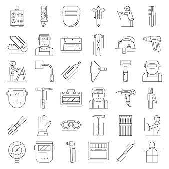 Conjunto de iconos de soldador. conjunto de esquema de iconos de vector de soldador