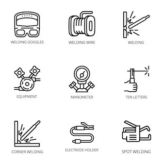 Conjunto de iconos de soldador, estilo de contorno
