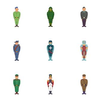 Conjunto de iconos de soldados, estilo de dibujos animados