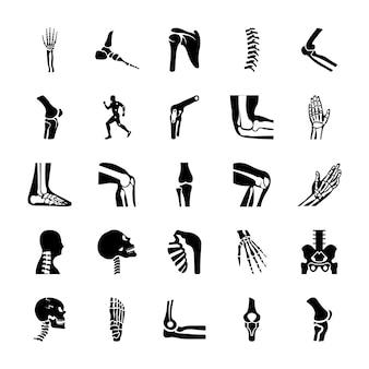 Conjunto de iconos sólidos ortopédicos y columna vertebral