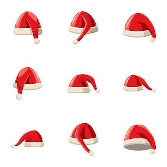 Conjunto de iconos de sombrero de año nuevo de santa claus, estilo de dibujos animados