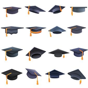 Conjunto de iconos de sombrero de graduación, estilo de dibujos animados