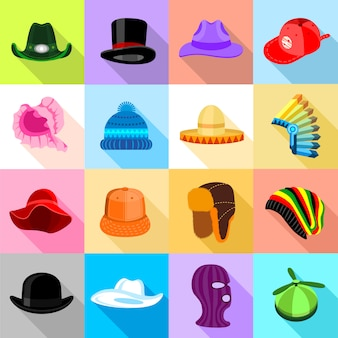 Conjunto de iconos de sombrero tocado colorido